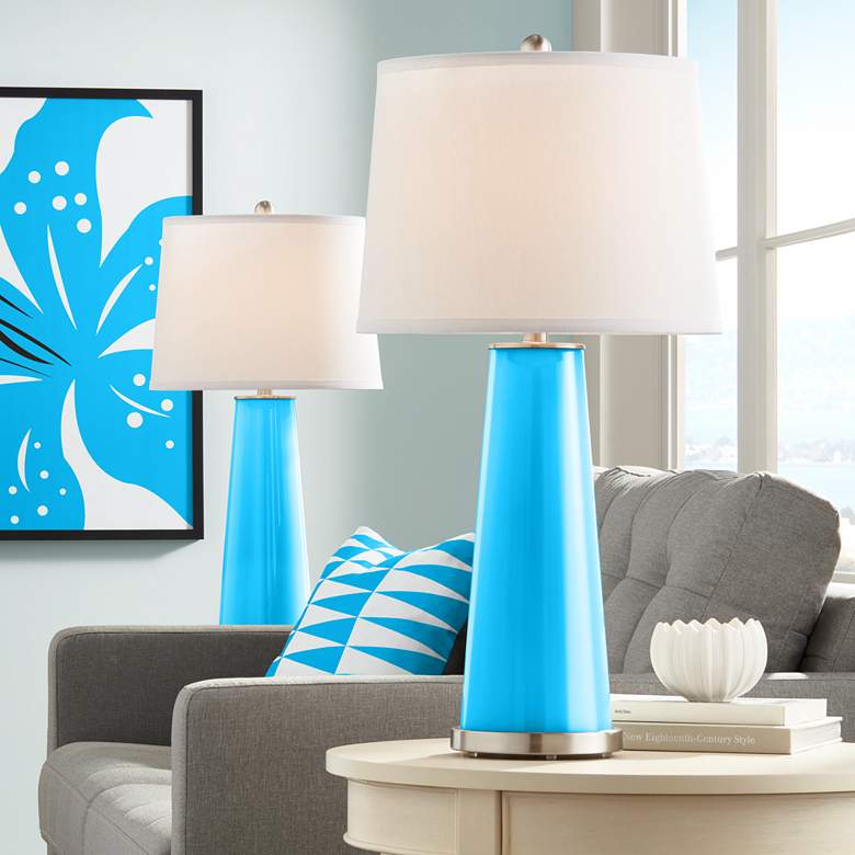 Sky Blue Leo Table Lamp Set of 2
