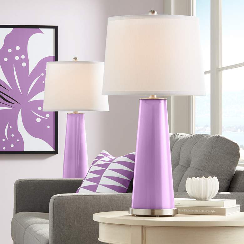 African Violet Leo Table Lamp Set of 2