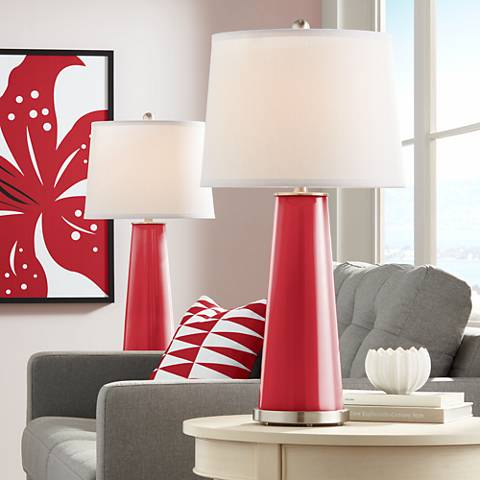 Ribbon Red Leo Table Lamp Set of 2