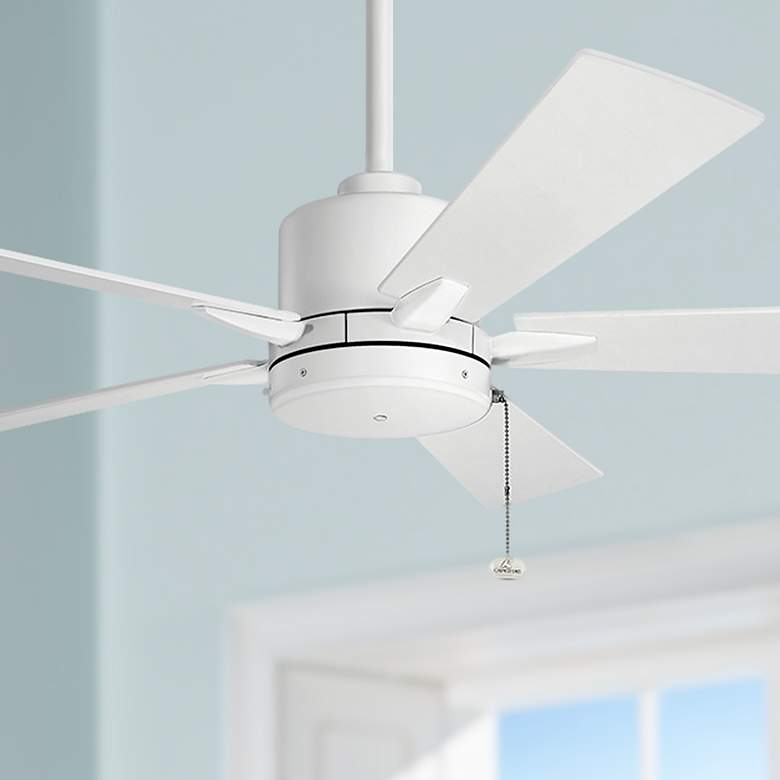 "52"" Bowen Pull Chain Matte White Ceiling Fan"