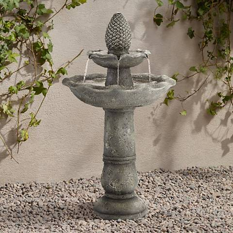 "Pineapple Garden 35""H Gray 2-Tier Indoor/Outdoor Fountain"