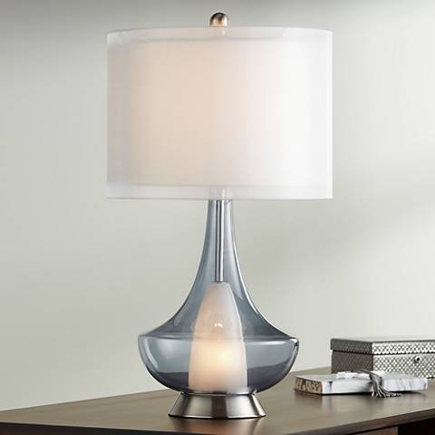Possini Euro Judith Blue Glass Table Lamp with Nightlight