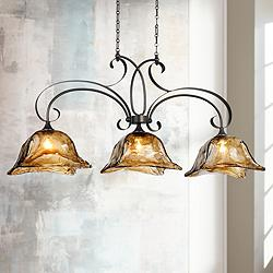 "Vetraio 47""W Oiled Bronze Kitchen Island Light Chandelier"