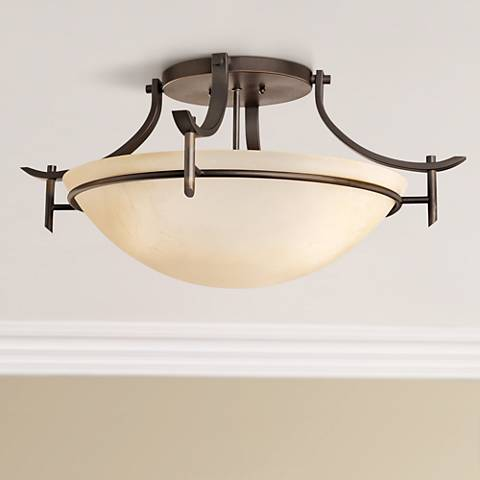 "Olympia 24"" Wide Olde Bronze Ceiling Light Fixture"