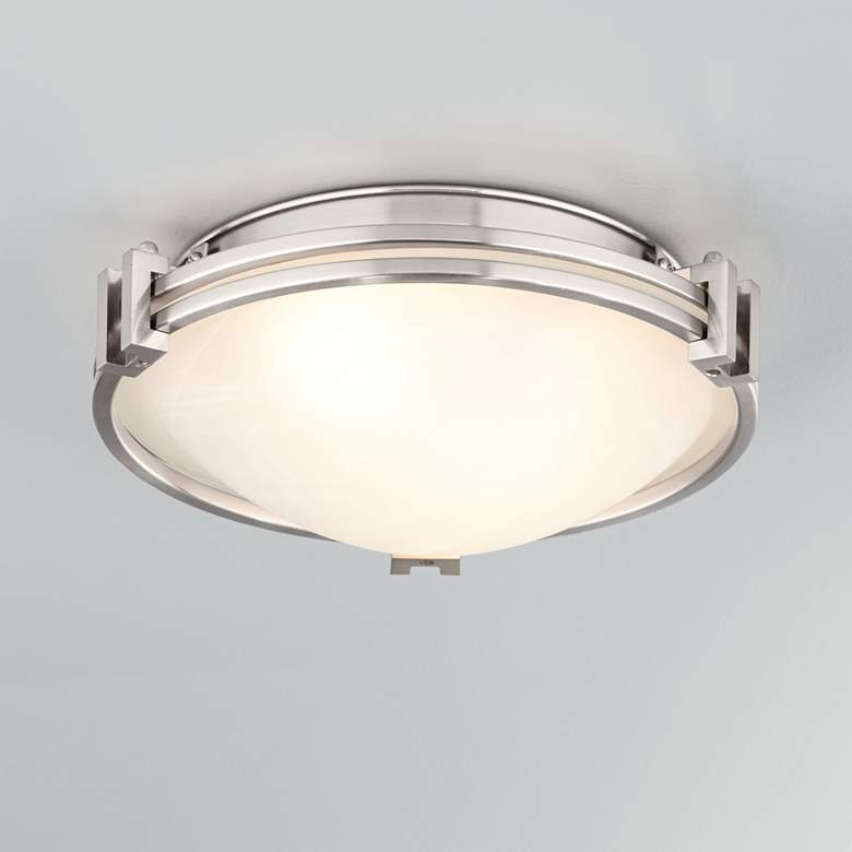 "Possini Euro Deco 12 3/4"" Wide Brushed Nickel Ceiling Light"