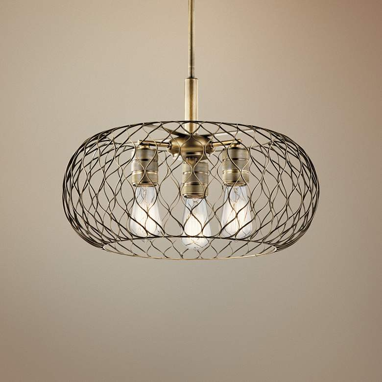 "Kichler Devin 18"" Wide Natural Brass Mesh 3-Light"