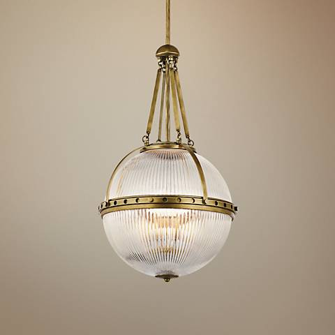 "Kichler Aster 15 1/4""W Natural Brass Orb 3-Light Pendant"