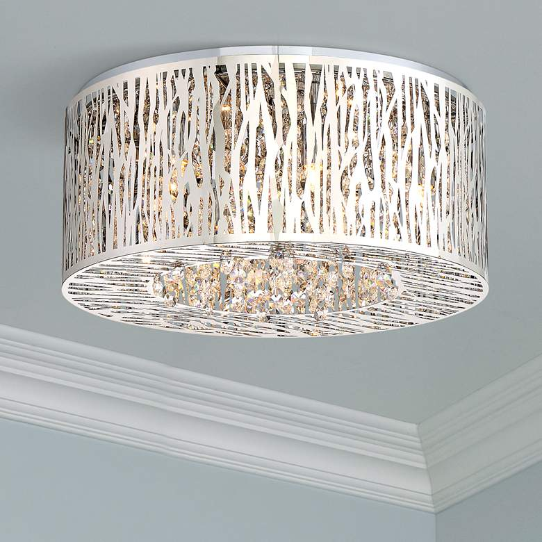 "Platinum Collection Grotto 15 3/4"" Wide Chrome Ceiling Light"