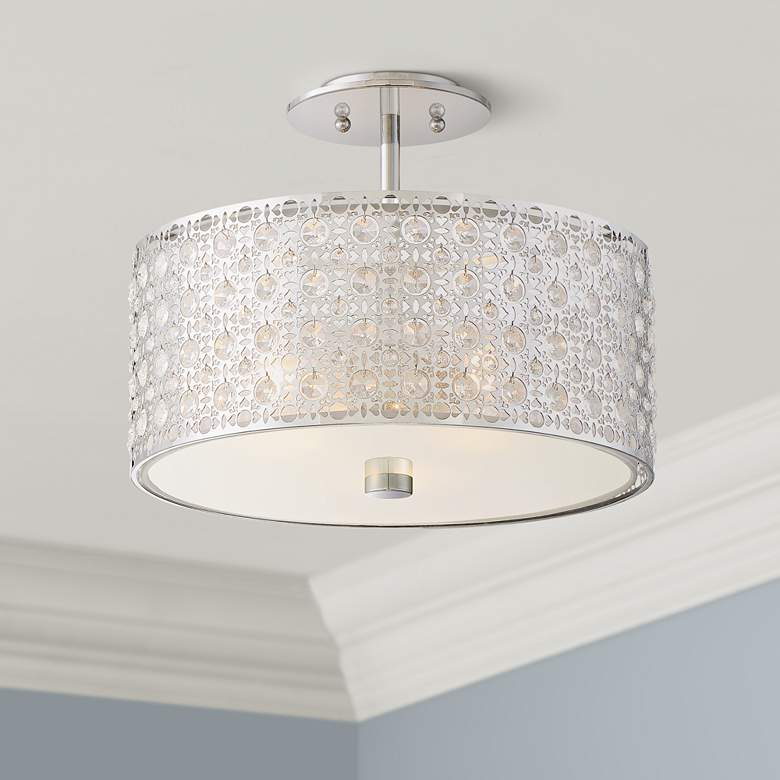 "Platinum Verity 15"" Wide Modern Chrome Ceiling Light"