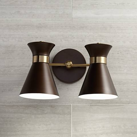 "Desmond 7 3/4"" High Bronze and Brass 2-Light LED Wall Sconce"