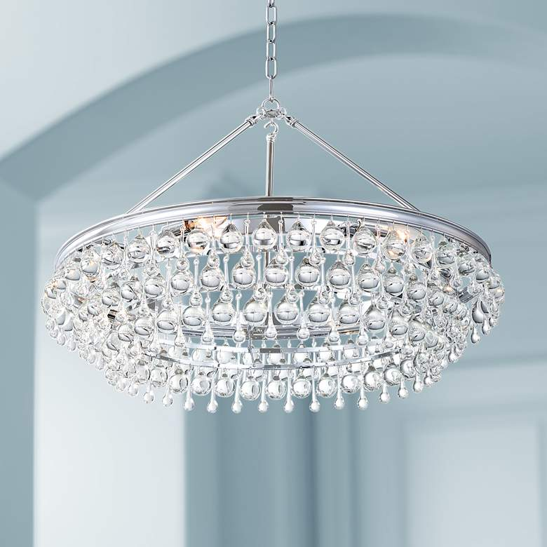 "Calypso 30"" Wide Polished Chrome and Crystal Chandelier"