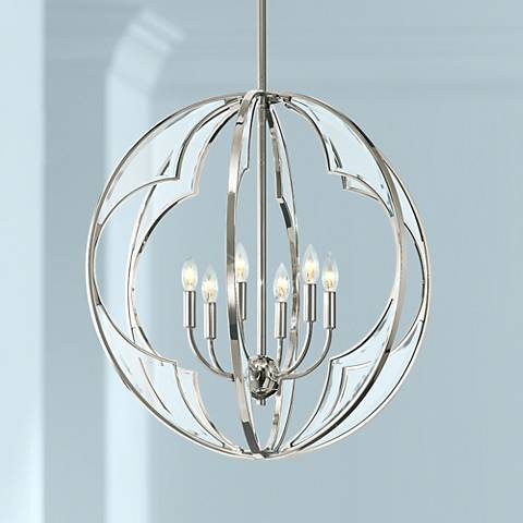 "Kichler Montavello 26""W Polished Nickel 6-Light Chandelier"