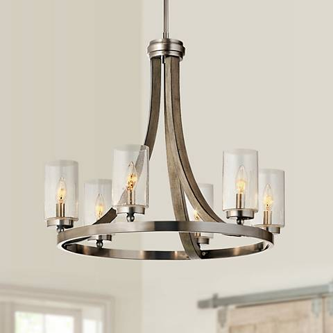 "Kichler Grand Bank 25"" Wide Antique Gray 6-Light Chandelier"