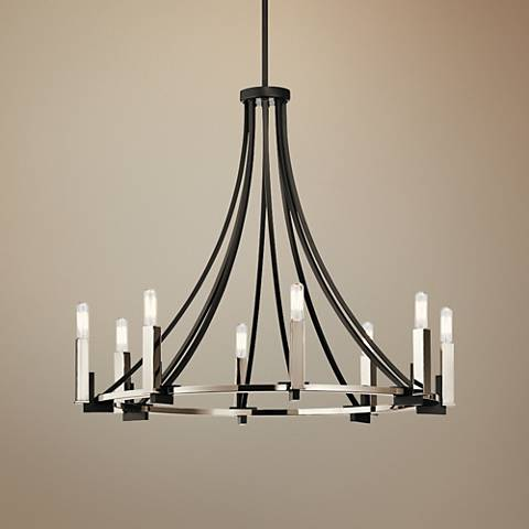 "Kichler Bensimone 30""W Black and Nickel 8-Light Chandelier"