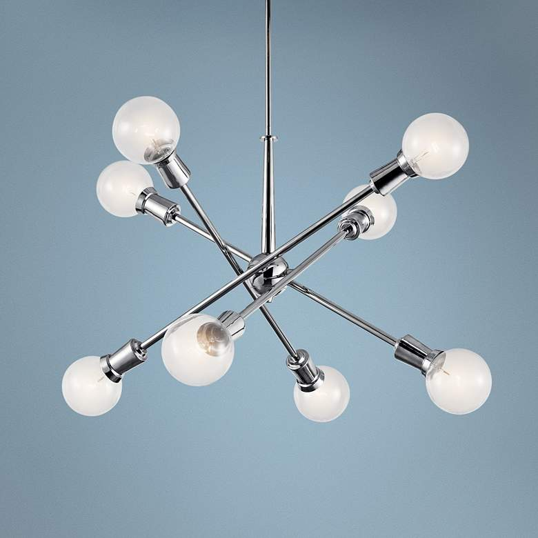 "Kichler Armstrong 30""W Chrome Adjustable 8-Light Chandelier"