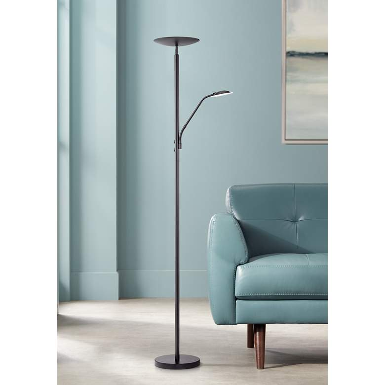 Decker Modern Led Reading Floor Lamp In Black
