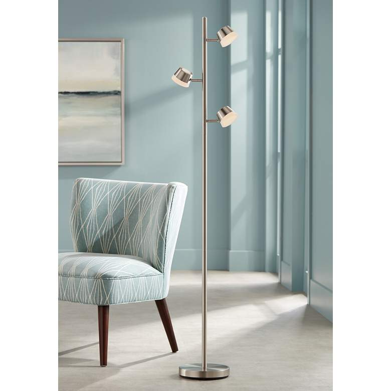 Merlin Satin Nickel Trac Tree 3-Light LED Floor Lamp