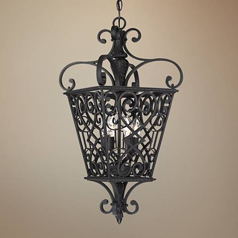 "Quoizel Fort Quinn 18"" Wide Marcado Black 4-Light Chandelier"