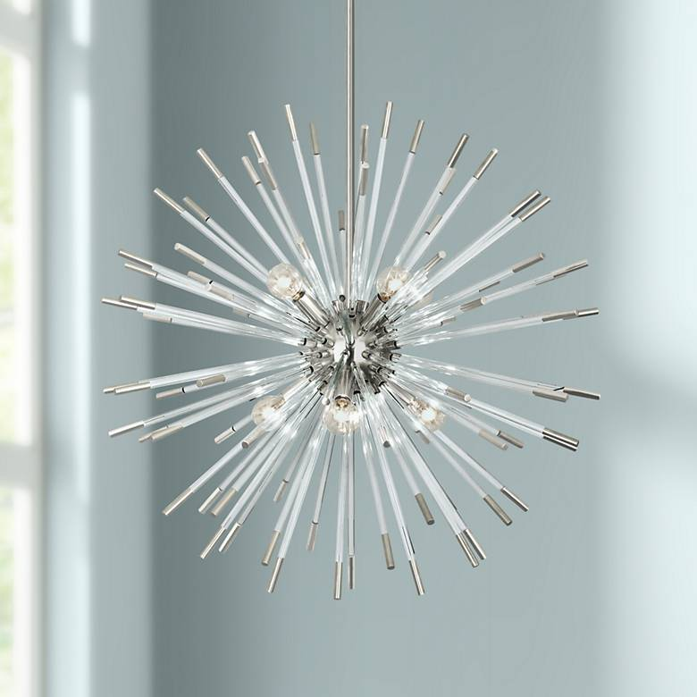 "Robert Abbey Andromeda 28""W Polished Nickel Pendant Light"