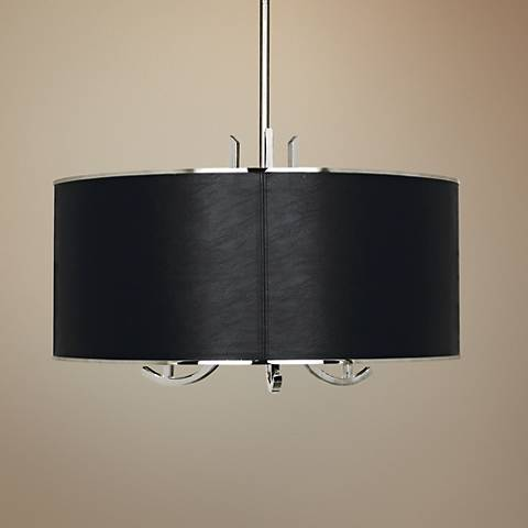 francesco 25 w polished nickel and black shade pendant light