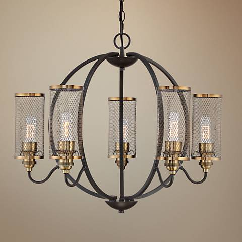 "Quoizel Denton 28 1/2""W Western Bronze 5-Light Chandelier"