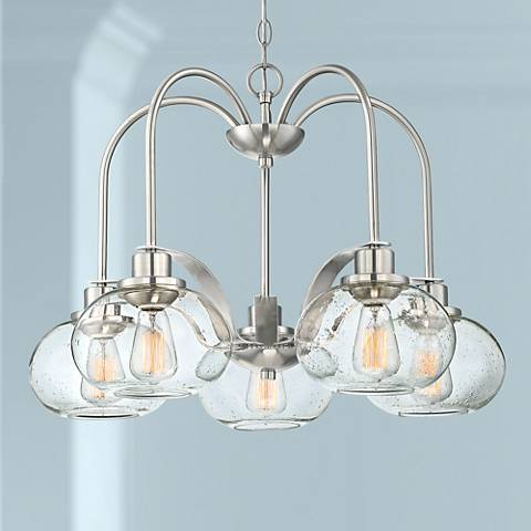"Quoizel Trilogy 26"" Wide Brushed Nickel 5-Light Chandelier"