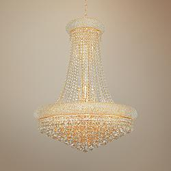 "Primo 28"" Wide Gold Crystal Chandelier"