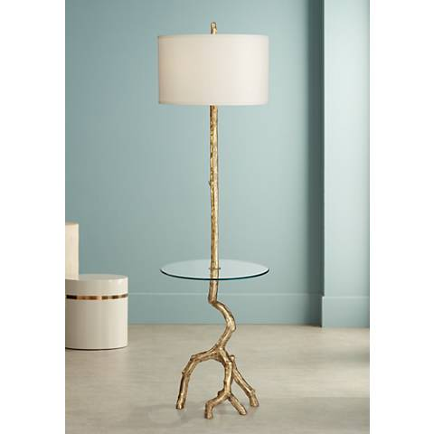 Beachwood Gold Leaf Tree Branch Tray Table Floor Lamp