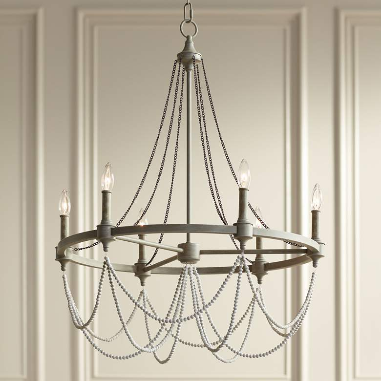 "Feiss Beverly 28"" Wide Washed Oak 6-Light Chandelier"