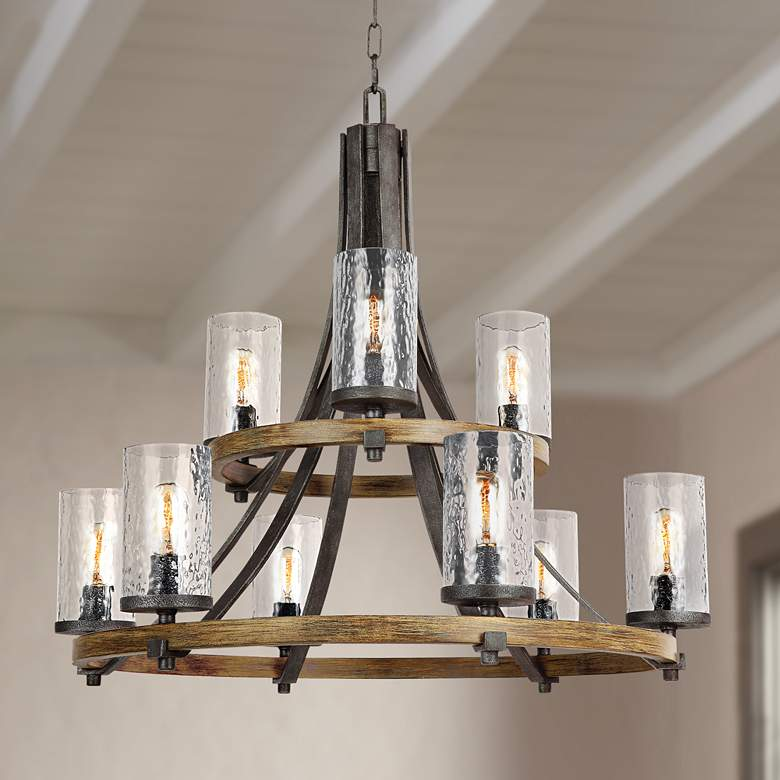 "Angelo 32 3/4"" Wide Weathered Oak Wagon Wheel Chandelier"
