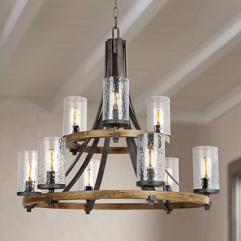 "Feiss Angelo 32 3/4"" Wide Weathered Oak 9-Light Chandelier"