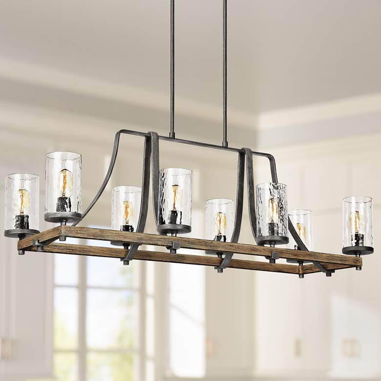 "Angelo 46""W Weathered Oak Kitchen Island Light Chandelier"