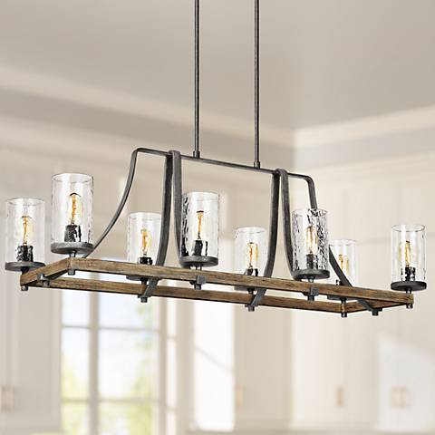 "Feiss Angelo 46""W Weathered Oak 8-Light Island Chandelier"