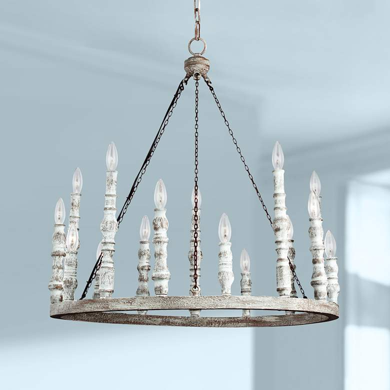 "Feiss Norridge 30""W Distressed White 15-Light Chandelier"