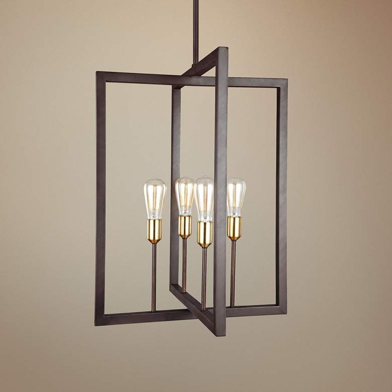 "Feiss Finnegan 21"" Wide New Bronze 4-Light Chandelier"