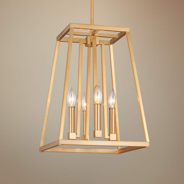 "Feiss Conant 13"" W Gilded Satin Brass Small 4-Light Pendant"