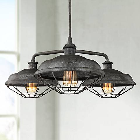 "Feiss Lennex 31 1/2""W Gray Indoor-Outdoor Chandelier"