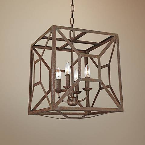 "Feiss Marquelle 17""W Weathered Iron Open-Cube Chandelier"