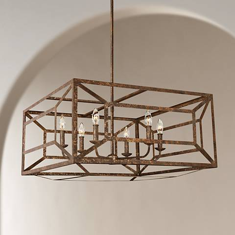 "Feiss Marquelle 28"" Wide Gold Leaf Open-Square Chandelier"
