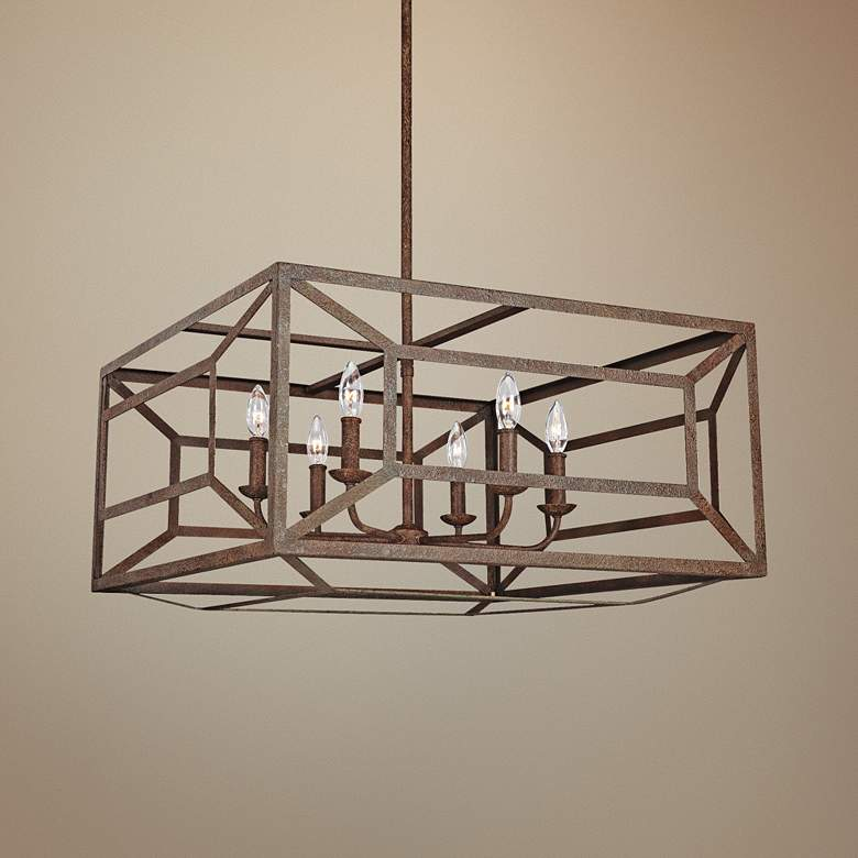 "Feiss Marquelle 28""W Weathered Iron Open-Square Chandelier"