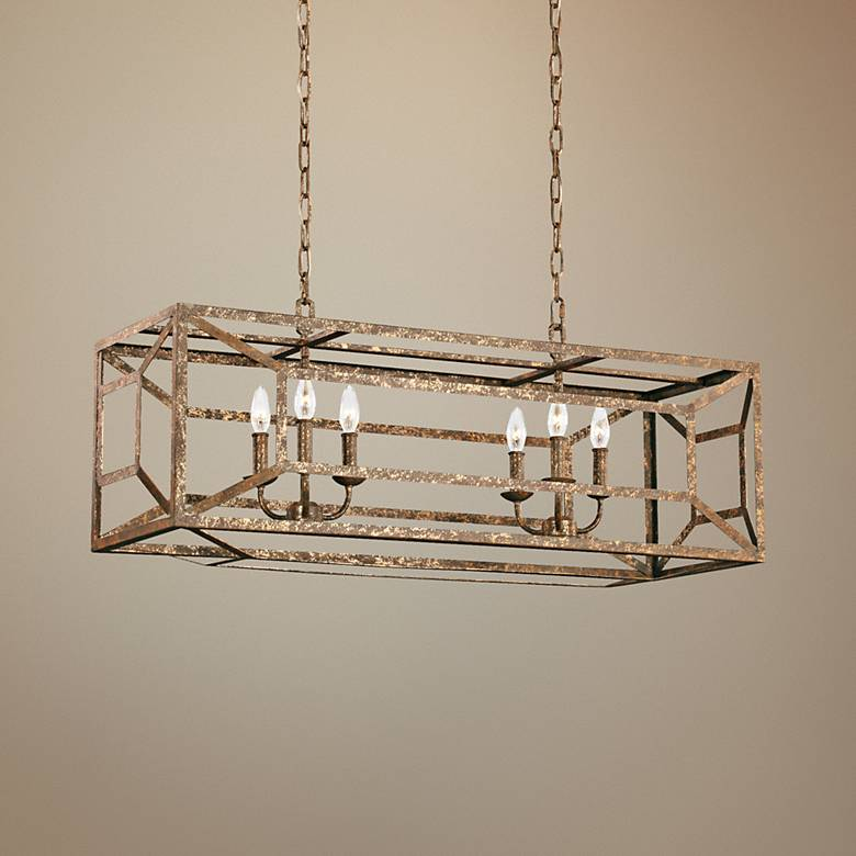 "Feiss Marquelle 41 3/4"" Wide Gold Leaf Island Chandelier"