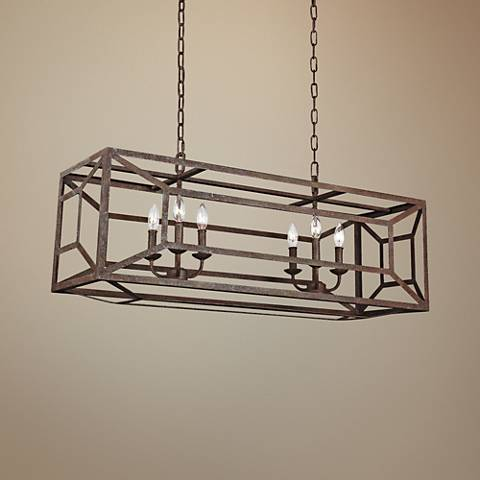 "Feiss Marquelle 41 3/4""W Weathered Iron Island Chandelier"