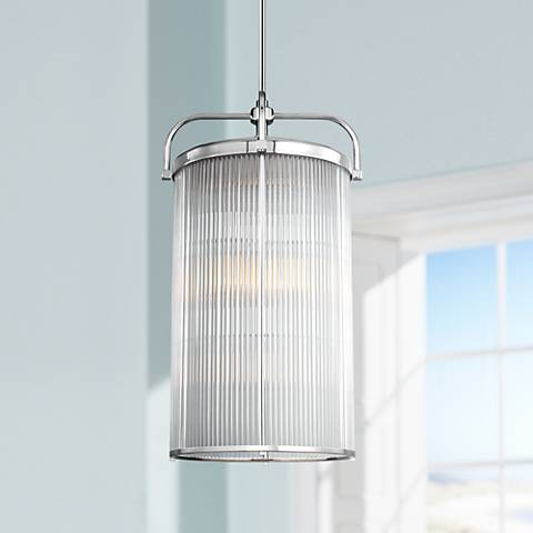 "Feiss Paulson 16 1/2""W Glass Rod - Chrome Foyer Chandelier"