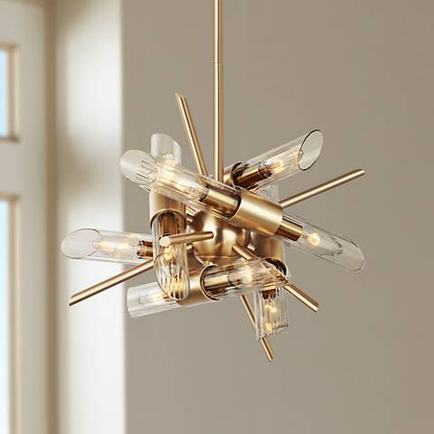 "Feiss Quorra 16 3/4""W Burnished Brass Starburst Chandelier"