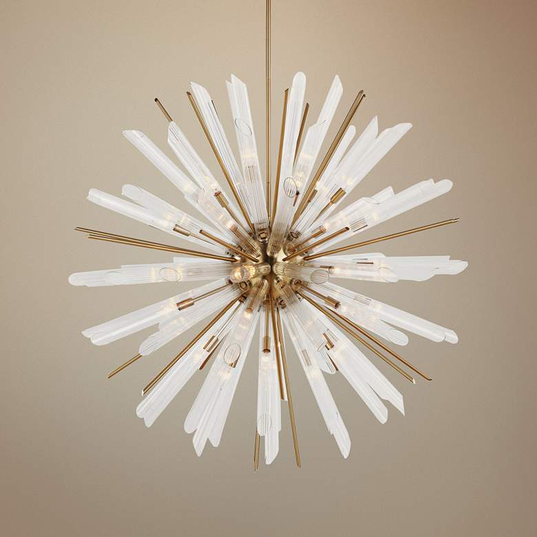 Feiss Quorra 48 Wide Burnished Br Starburst Chandelier