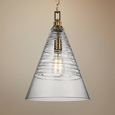"Feiss Elmore 11 3/4"" Wide Burnished Brass Cone Mini Pendant"
