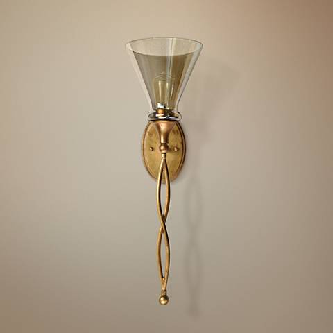 "Uttermost Glam 26 1/2"" High Antiqued Gold Leaf Wall Sconce"