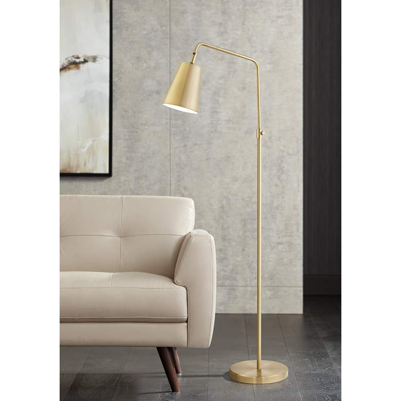 Zella Brushed Antique Brass Downbridge Floor Lamp