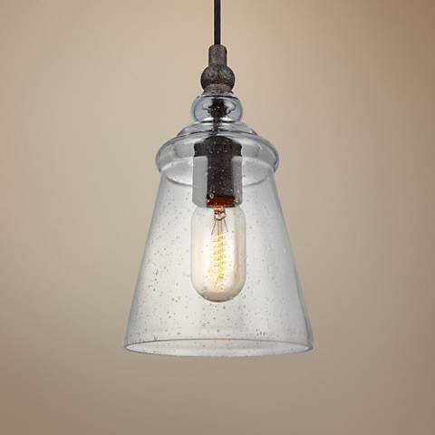 "Feiss Loras 5 3/4"" Wide Dark Weathered Iron Mini Pendant"