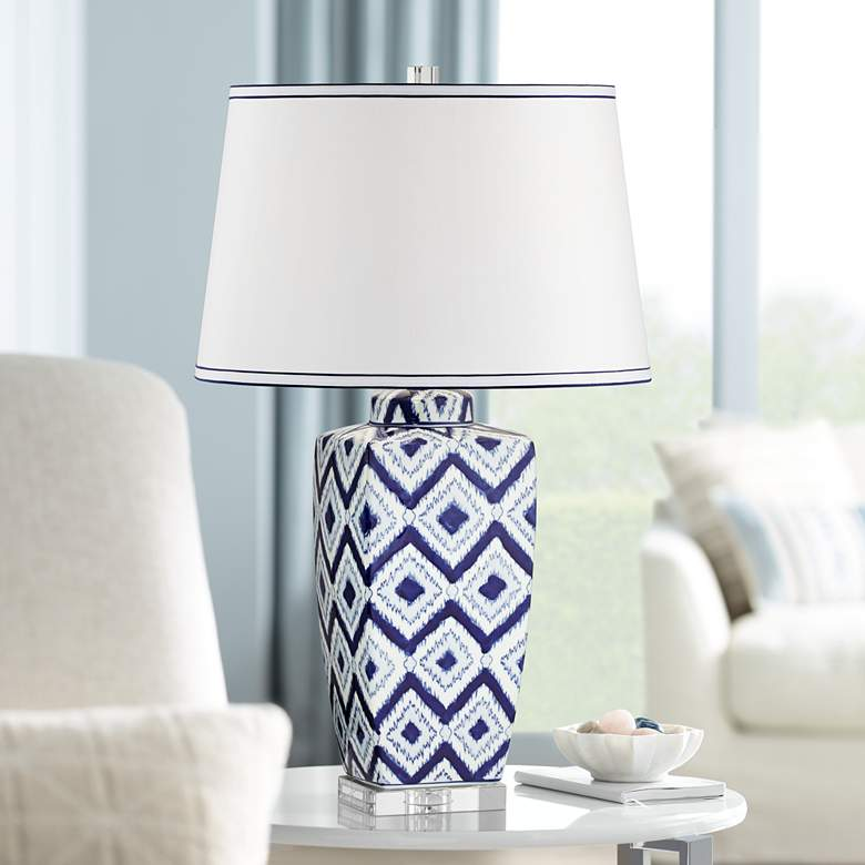 Esia Cool Puff White Quilt Ceramic Table Lamp